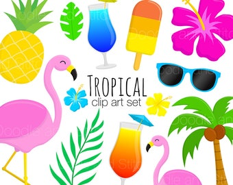 Tropical Clipart Pictures, Summer Clip Art Set, Flamingo Illusrations, Holiday Digital Designs