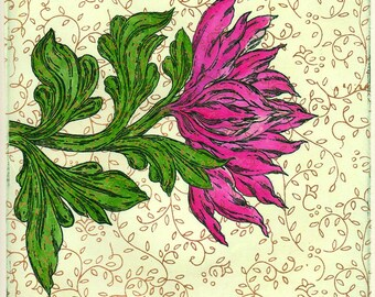 The Red Flower Hand Made Blank Card, Archival Reproduction of an original watercolor etching.