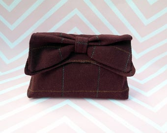 Katharine - Maroon Check Harris Tweed Clutch Bag - evening purse - bow - formal - handmade