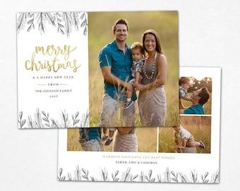 Christmas Card Template -  Gold Merry Christmas Holiday Photo Card - Photoshop template 5x7 flat card - CC141