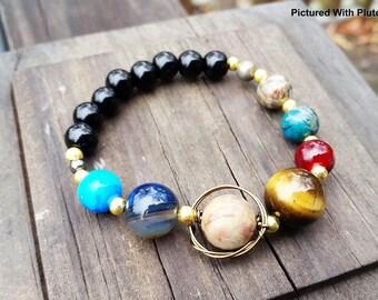Solar System Bracelet, Glass Jewelry, Geek Gifts, Planet Bracelet, Agate Jewelry, Shell Jewelry, Astronomy Jewelry, Elastic Bracelet