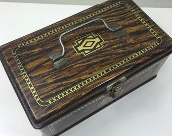 Vintage faux wood tin box chest - handle on top with front catch