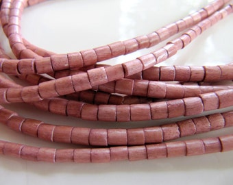 4mm WOOD Beads in Mauve Pink, Heishi Barrel Tubes, 3mm to 4mm x 2mm to 3mm, 1 Strand 24 Inches, Approx 170 Beads, Dyed, Waxed