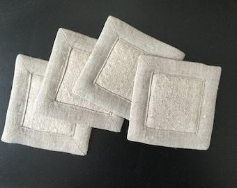 Free Shipping! Handwoven Coasters or Mug Mats- Set of Four (4) Linen