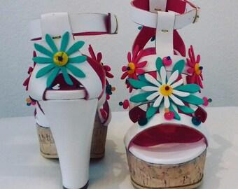 Coloured Cork wedge sandal-Sandals-Handmade in Italy
