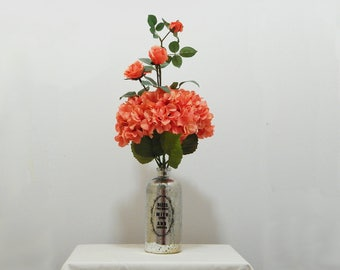 Mercury Glass, Tall Arrangement, Silk Hydrangeas, Floral Arrangement, Silk Roses, Large Arrangement, Living Room Decor, Tall Centerpiece