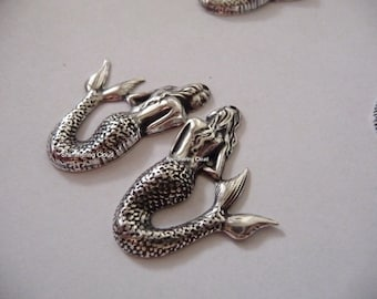 Mermaid, pendant, sterling plated, brass base, mixed metals, matched pair, left and right, 2 pcs