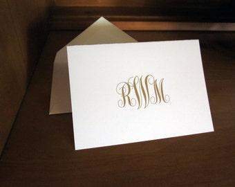 Monogram Thank You Cards, Folded
