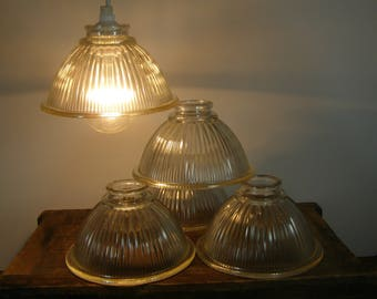 Free Shipping. DIY Hanging Light Fixture. 5 charming salvaged rippled Glass Light Cover Shades from a 1925 Bungalow. Add a Modern Light Kit.