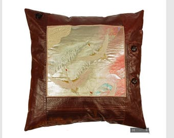 Cushion/Pillow decorated with Japanese obi silk