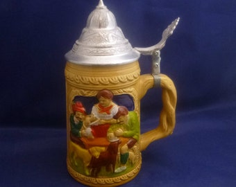 Vintage German Hand Painted Lidded Ornamental Beer Stein, 1980-90s