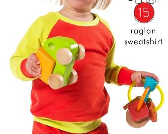 Raglan sweatshirt pdf sewing pattern // photo tutorial // instant download // 0M to 6T // #15