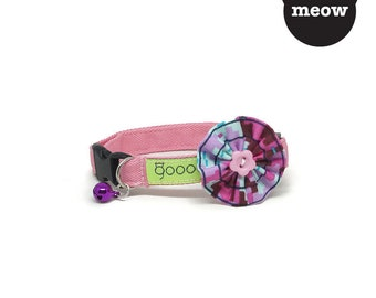 GOOOD Cat Collar | Bloomie - Electro Pink | 100% Multi Colors Cotton Fabric | Safety Breakaway Buckle