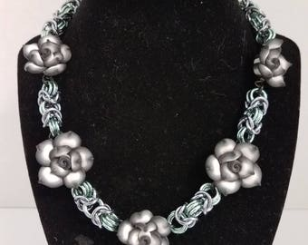 Byzantine necklace with polymer roses