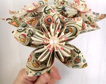 5 x Art Nouveau Kusudama Flower Stems