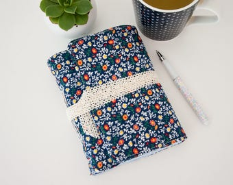 Unlined Journal - Travel Journal with Blue Floral Fabric Cover - Great Travel Gift