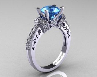Modern Armenian Classic 14K White Gold 1.5 Ct Aquamarine Diamond Wedding Ring R137-14KWGDAQ
