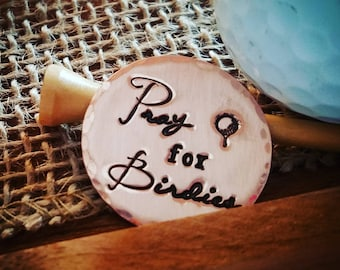 Pray for Birdies Personalized Golf Ball Markers - a set of 2 in copper