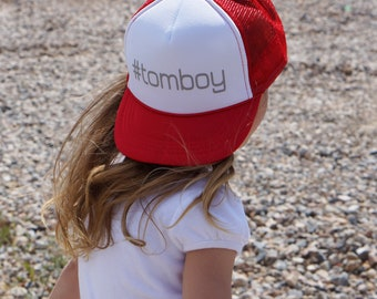 tomboy trucker hat, snapback, kids hat, youth hat, mesh hat, kids fashion, cute hat, kids trucker hat, youth trucker hat, hashtag, girls hat