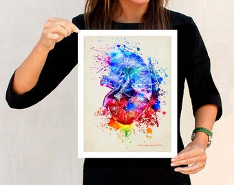 "Watercolor Kidney, 11"" x 14"", Anatomy Medical print, Registered Nurse Gift, Nurse Graduation gift, Watercolor Splatter art, Anatomy Kidney"