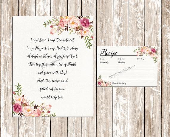 Recipe Card Bridal Shower Watercolor Flowers Tea Printable INSTANT DOWNLOAD