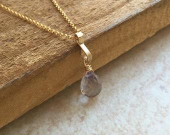 Crystal Necklace Gold Necklace Gemstone Necklace Crystal Pendant Bridal Shower Quartz Necklace Sister Gift Quartz Crystal