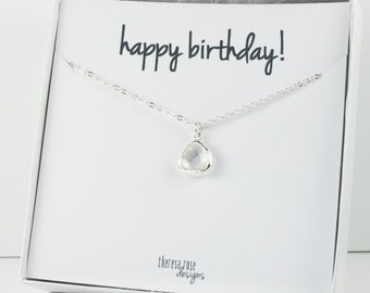 Tiny April Birthstone Silver Necklace, Crystal Necklace, Silver Necklace, April Birthday Gift, Bridesmaid Jewelry, Gifts Under 20