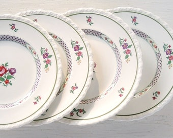 Vintage Myott Bread and Butter Plates Set of 4, Bridesmaid Luncheon Tea Party, Shabby Cottage Style, Princess Tea Party Plates