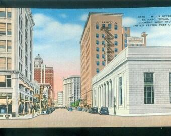 El Paso Texas Mills Street Looking West from US Post Office Linen Photo Postcard