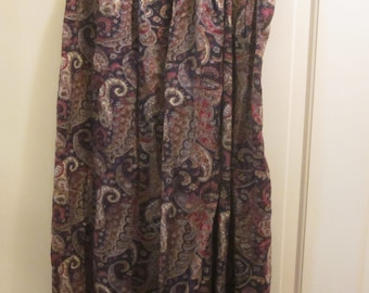 Classic 1970s Navy Paisley Button-Front Skirt