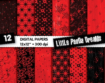 Flamenco Red Digital Papers, Crimson Red and Black Scrapbook Paper, Floral printable Digital pattern, Instant Download, 12 Digital papers