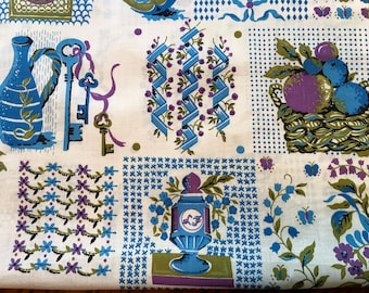 "Vintage 1950s Novelty Kitchen Cotton Fabric Yardage,  36"" x 44"""