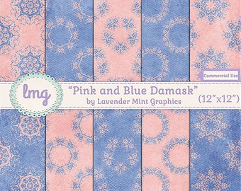 "Pink and Blue Digital Papers - ""Pink and Blue Damask"" - Scrapbook, Wedding, Baby Shower, Junk Journal Paper, Vintage, Instant Download, CU"