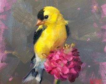 "American Goldfinch, by Krista Eaton, original, art, 6"" x 6"", bird, birds, decorative, oil, painting, blossoms, spring"