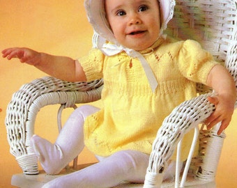 Baby Knitting Pattern, Baby Dress Knitting Pattern, 3 Ply or 4 Ply Baby Knitting Pattern, INSTANT Download Pattern PDF (2328)