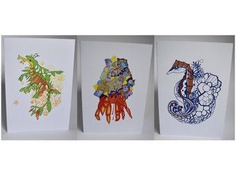 Set of 3 A6 Greeting Cards: Seahorse, Leafy Sea Dragon, Crab. (Blank Inside)