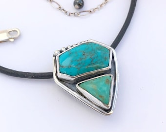 Dual Stone Silversmith Turquoise Necklace, Sterling Silver and Turquoise Pendant Necklace, Contemporary Turquoise Pendant Artisan Turquoise