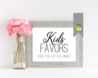"Kids Favors , Wedding Sign -Sizes 10x8"" Kids Table, wedding Table, DIY Bride, printable instant download -Black and white favor table sign."