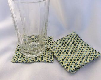 Green and Blue Geometric Coasters, Set of 4