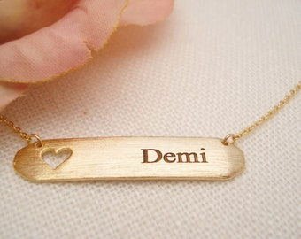 Personalized Gold bar with heart necklace...Engraved initial name Bar, sorority, best friend gift, wedding, bridesmaid gift