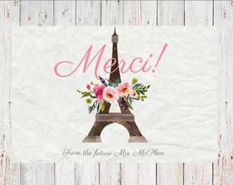 Printable Paris Themed Thank You Cards