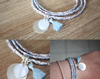 Bracelet 3 rounds in blue tie, Liberty Eloise medals silver and Pearl tassel, sky blue