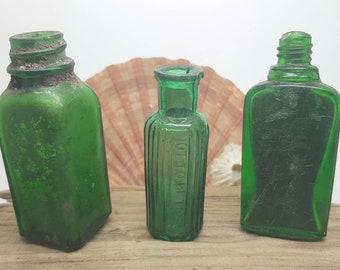 Vintage poison bottle,3 teal green bottles,dug up not sea worn,rare bottle find,antique bottles.