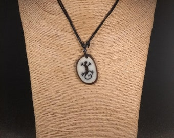 Carved Gecko Tagua Nut Necklace