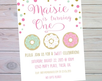 Donut Party | Donut Party Invitation | Donut Birthday Party | Confetti Invitation | 1st Birthday | Printable Invitation | The Party Darling