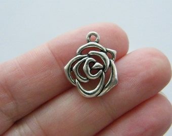 BULK 50 Rose charms antique silver tone F137