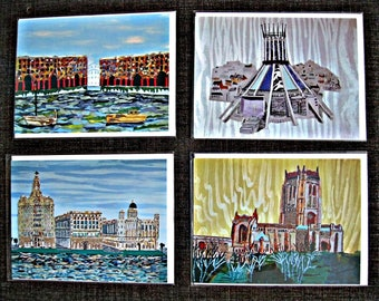 Liverpool Famous Buildings Iconic Landmarks set of 4 Art Cards