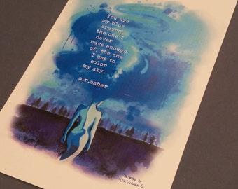 Blue crayon art print