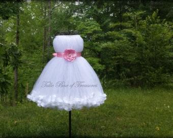 Sleeveless White Junior Bridesmaid Dress with Light Pink Flower and Sash
