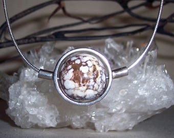 JASPER (WILD HORSE) -hand-cut -Stone Sphere Necklace